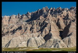 The Wall raising above prairie. Badlands National Park, South Dakota, USA.